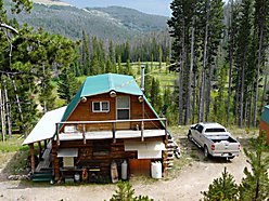 log cabin, for sale, Basin, Helena, Montana, creek, ponds, National Forest, elk, wilderness for sale