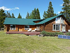 log home, for sale, off grid, lincoln, montana, generator, solar panels, propane, blackfoot river,  for sale